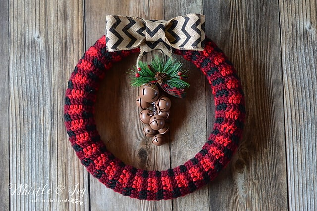 Tartan Plaid Wreath Free Crochet Pattern Crochetkim
