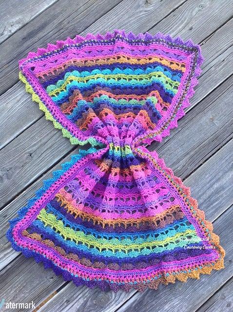 Free Crochet Pattern: Seaside Aurora Borealis Baby Blanket