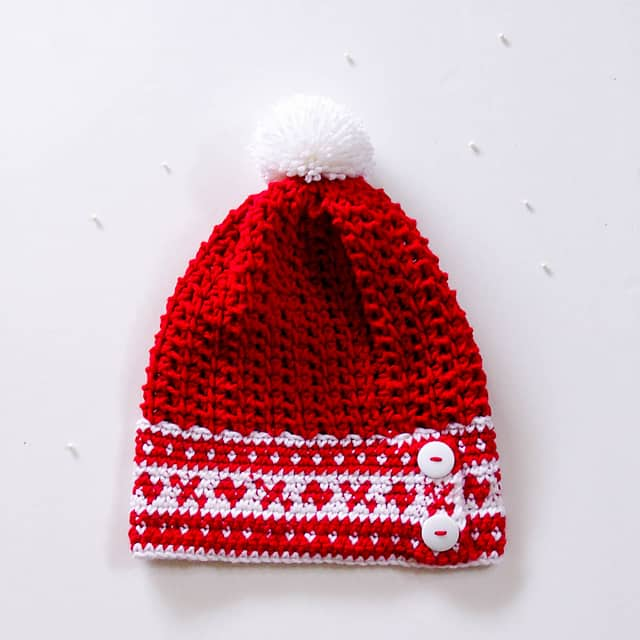 Fair Isle Slouchy Hat Free Crochet Pattern