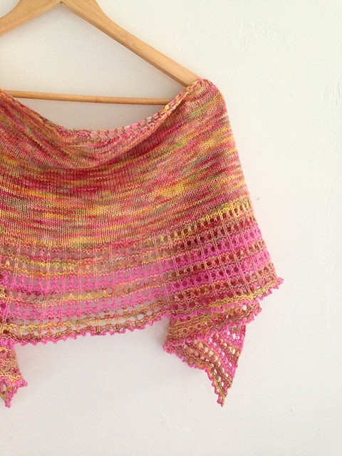 Free Knit Pattern: Peek A Boo Bay Shawl