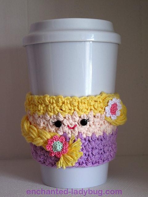 Free Crochet Pattern: Rapunzel Coffee Cup Cozy