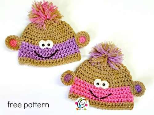 Free Crochet Pattern: Twin Baby Monkey Beanies