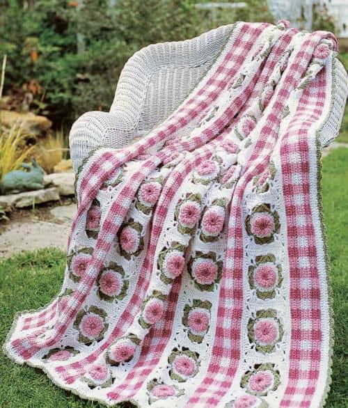 Free Crochet Pattern: Gingham Garden Afghan