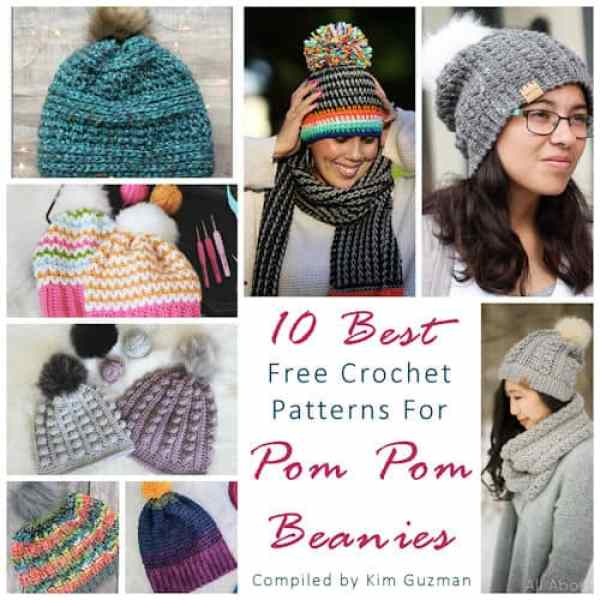 Link Blast  10 Best Free Crochet Patterns for Pom Pom Beanies ... 76aee7beea1
