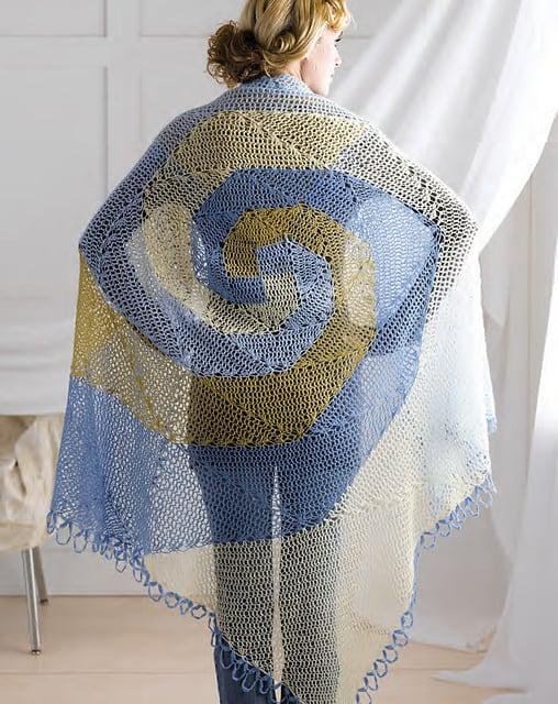 Free Crochet Pattern: Spiral Wave Shawl