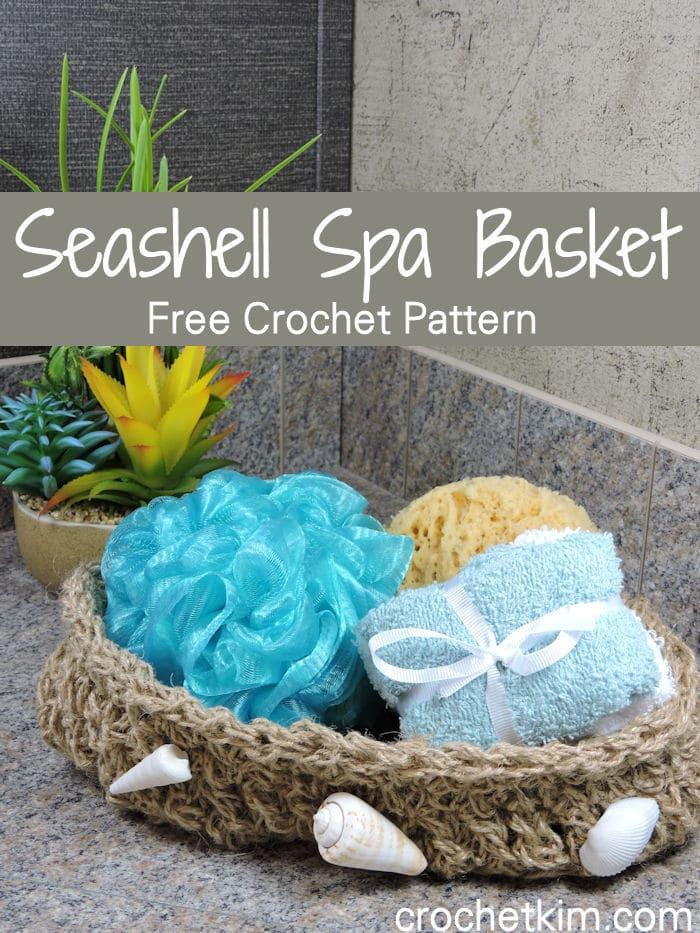 Seashell Spa Bath Basket Free Crochet Pattern Crochetkim