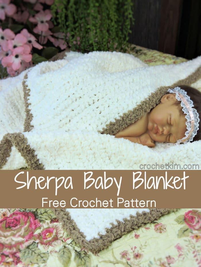 Sherpa Baby Blanket Photo Prop Free Crochet Pattern Crochetkim