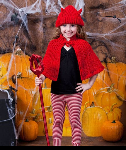 Little Devil Hat and Cape Costume | CrochetKim Free Crochet Pattern