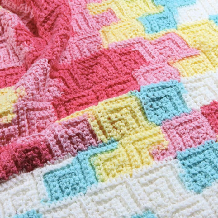 CrochetKim Free Crochet Pattern | Patchwork Baby Blanket