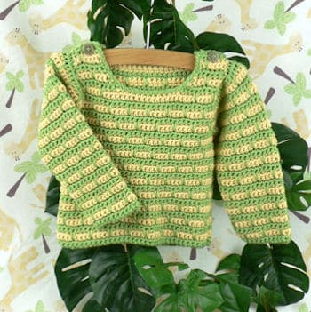 Devon Striped Baby Sweater | CrochetKim Free Crochet Pattern
