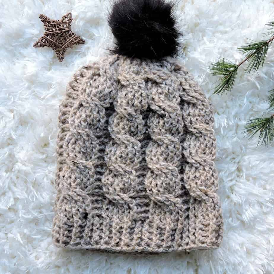 Oatmeal Cable Slouch Hat Free Crochet Pattern