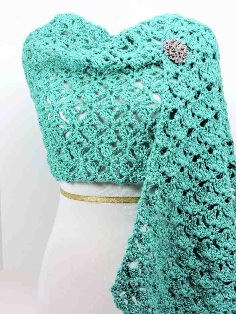 Emerald Lace Fling Wrap CrochetKim Free Crochet Pattern