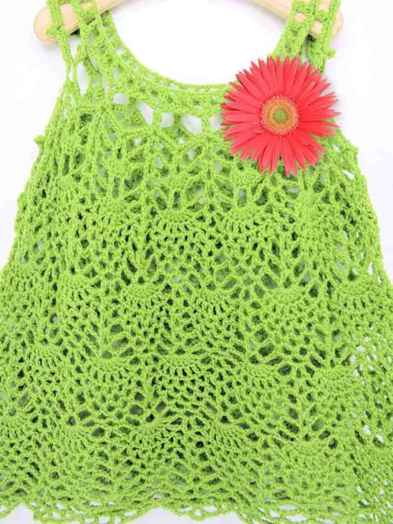 Pineapple Cascade Baby Dress CrochetKim Free Crochet Pattern