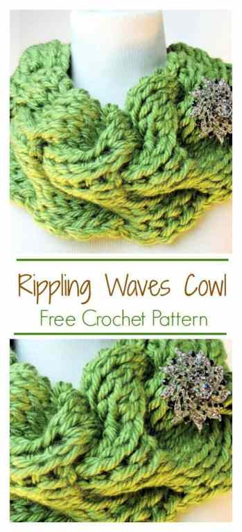 Rippling Waves Cowl CrochetKim Tunisian Crochet Pattern