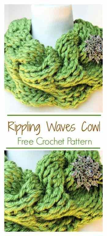 Rippling Waves Cowl CrochetKim Tunisian Crochet Pattern