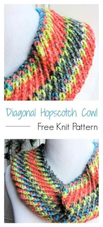 Diagonal Hopscotch Cowl CrochetKim Free Knit Pattern
