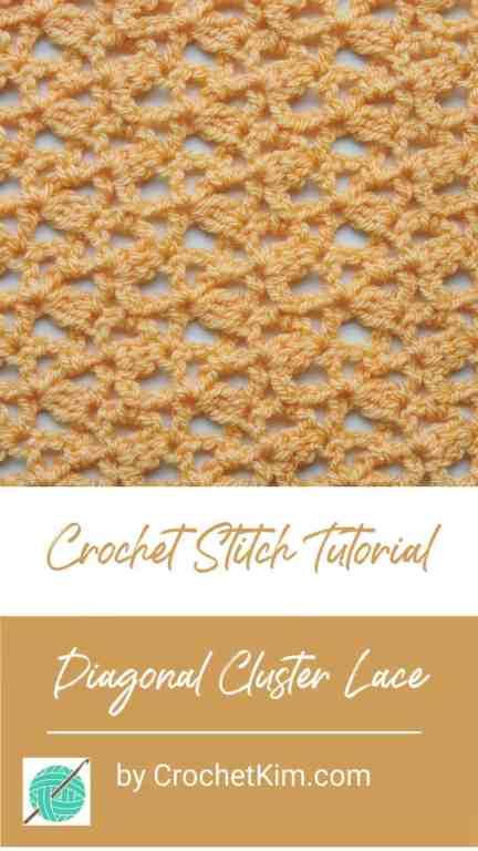 Diagonal Cluster Lace CrochetKim Free Crochet Stitch Tutorial