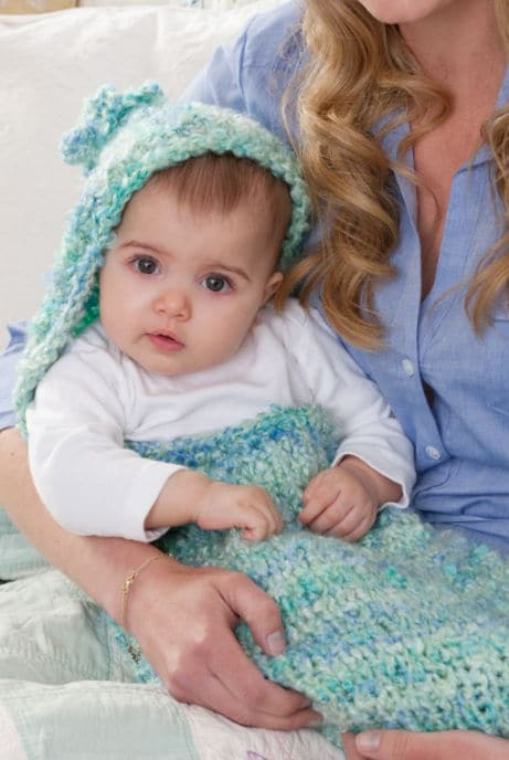 Baby Clouds Cocoon CrochetKim Free Knit Pattern