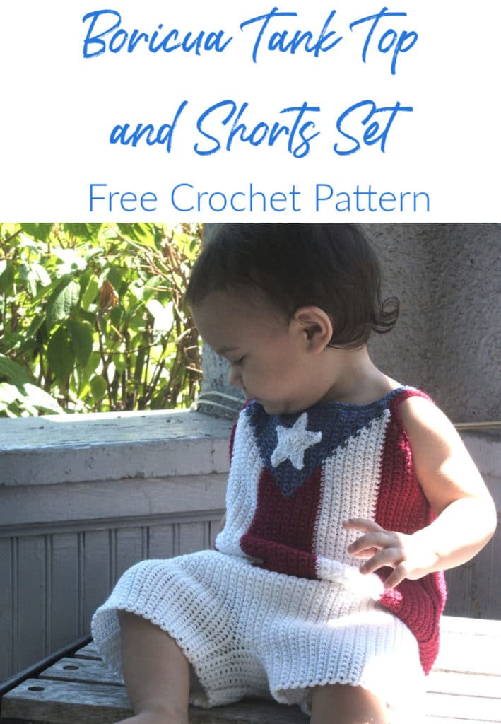 CrochetKim Free Crochet Pattern | Boricua Patriotic Infant Baby Tank Top and Shorts Set