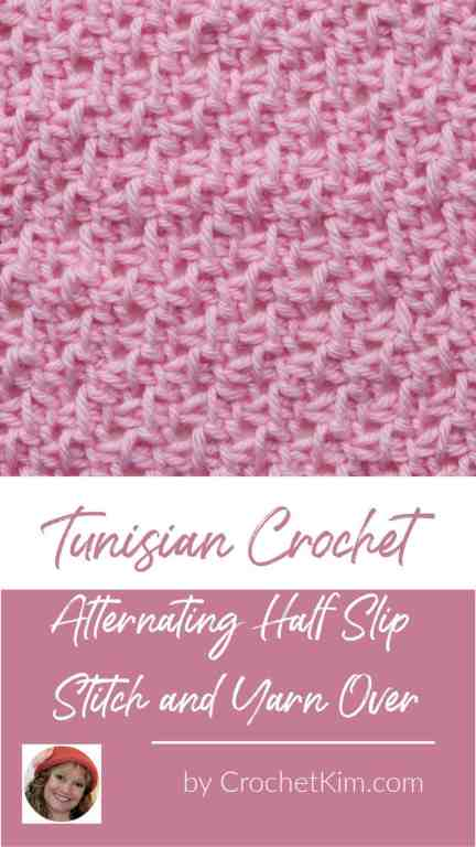 Tunisian Alternating Half Slip Stitch and Yarn Over CrochetKim Crochet Stitch Tutorial