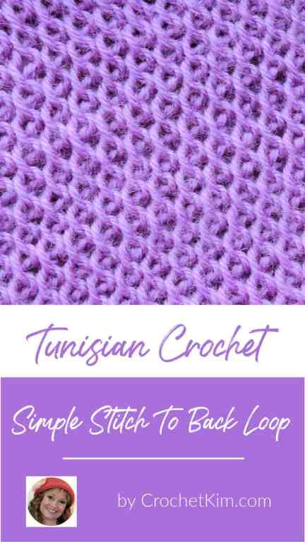 Tunisian Simple Stitch To Back Loop CrochetKim Crochet Stitch Tutorial
