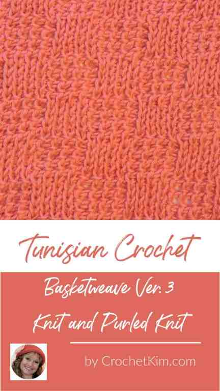 Tunisian Basketweave Ver. 3 Knit and Purled Knit Crochet Stitch Pattern