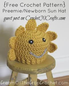 Preemie/Newborn Sun Hat Pattern ~ FREE Crochet Pattern by Cream Of The Crop Crochet