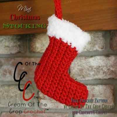 Mini Christmas Stocking ~ FREE Crochet Pattern by Cream Of The Crop Crochet