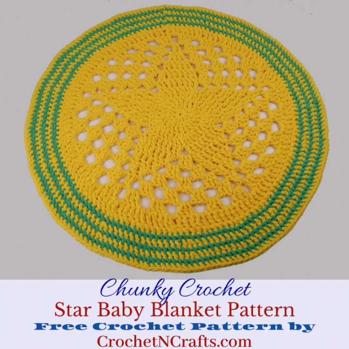 Chunky Crochet Star Baby Blanket Pattern. This round baby blanket is perfect for playing on the floor or for photoshoots.