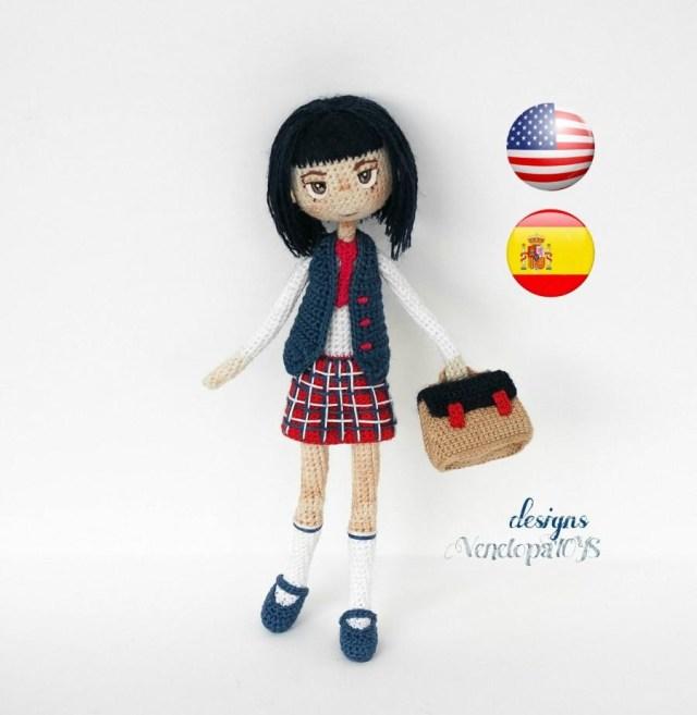 Amigurumi Doll Crochet Pattern Pattern Doll Schoolgirl Amigurumi Crochet Doll Crochet Doll
