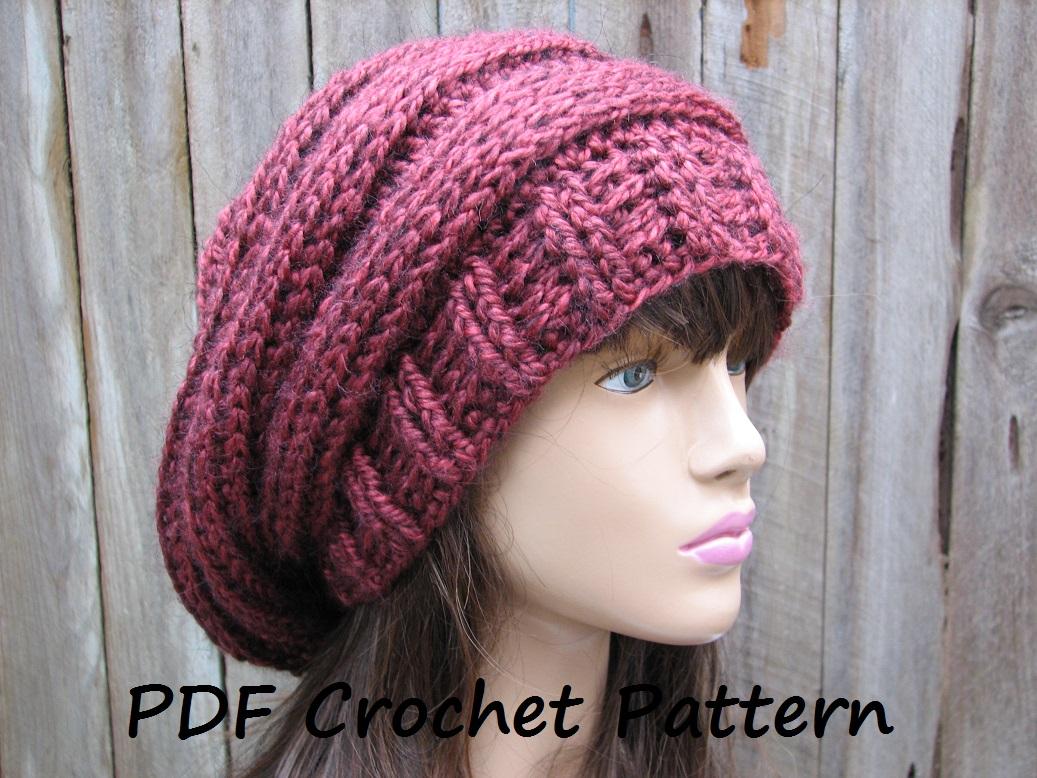 Beanie Pattern Crochet Crochet Pattern Crochet Hat Slouchy Hat Crochet Pattern Pdf