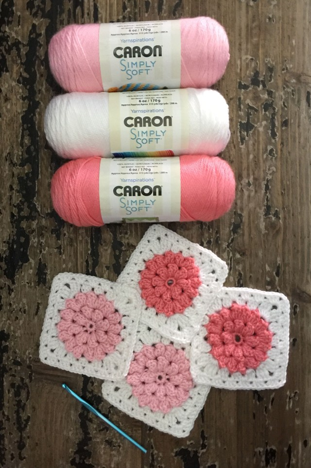 Caron Simply Soft Crochet Patterns Granny Squares With Flowers In Caron Simply Soft Yarn