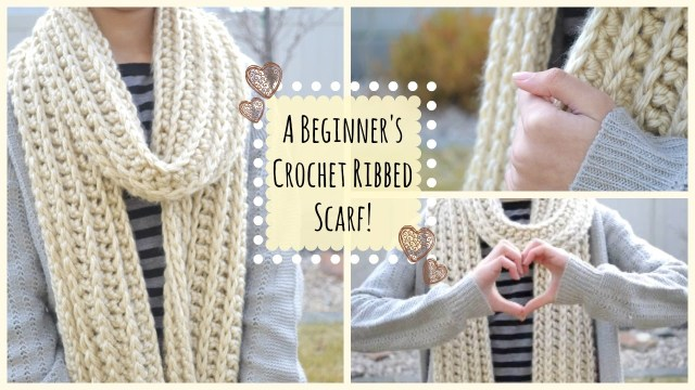 Chunky Crochet Scarf Pattern How To Crochet A Beginners Ribbed Scarf Ms Craft Nerd Youtube