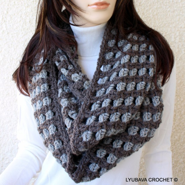 Chunky Crochet Scarf Pattern Infinity Scarf Crochet Pattern Easy Scarf Two Colors Circle Etsy