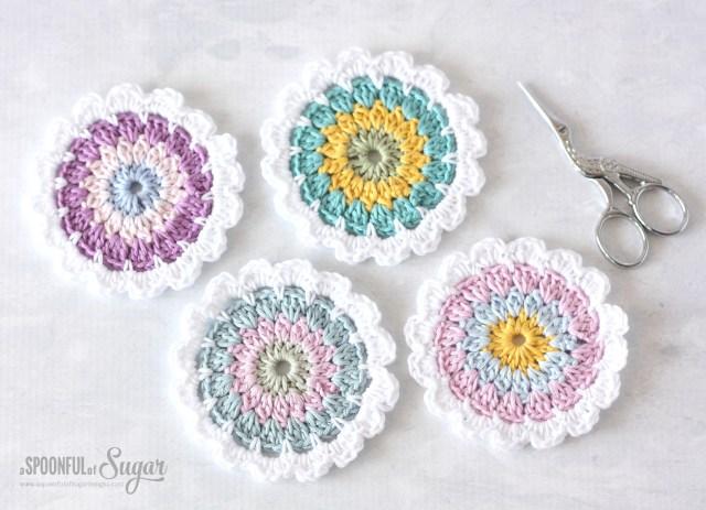 Coaster Crochet Pattern Flower Coaster Pattern A Spoonful Of Sugar