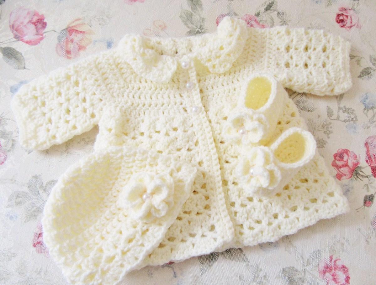 Crochet Baby Sweater Patterns Ba Sweater Set Crochet Ba Coat Infant Outfit Newborn Etsy
