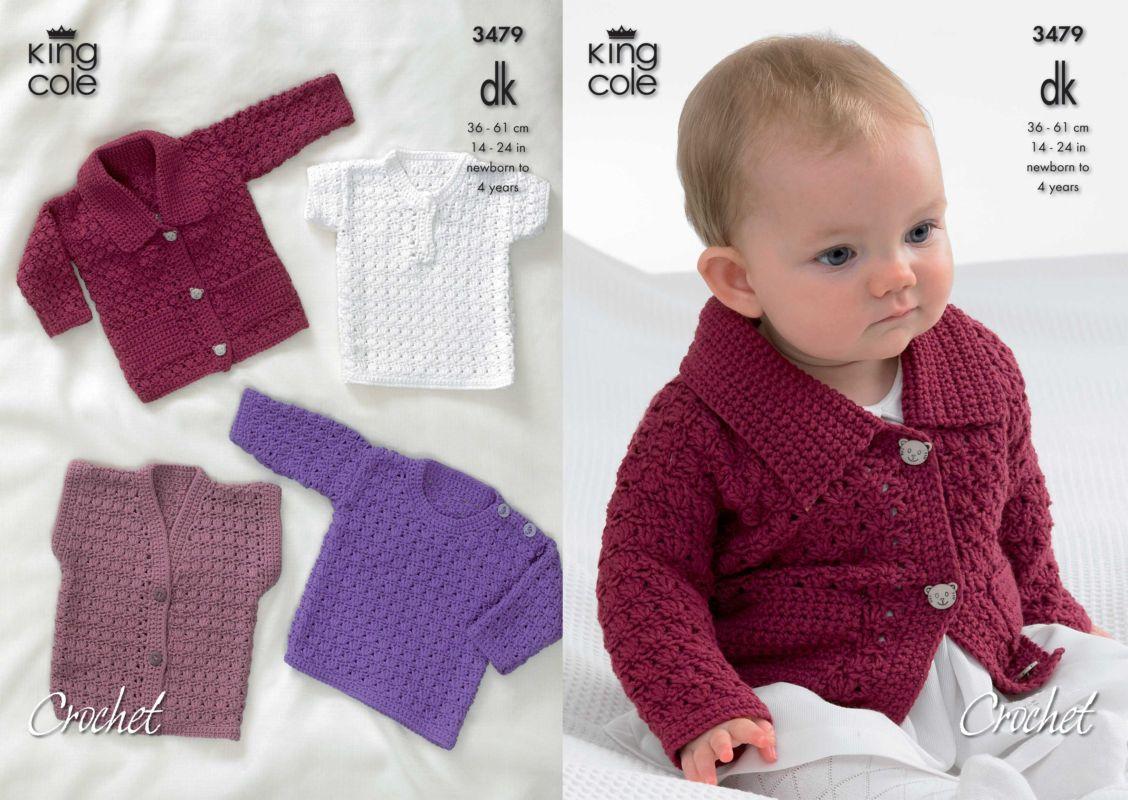 Crochet Baby Sweater Patterns King Cole Dk Ba Cardigan Sweaters And Waistcoat Crochet Pattern 3479