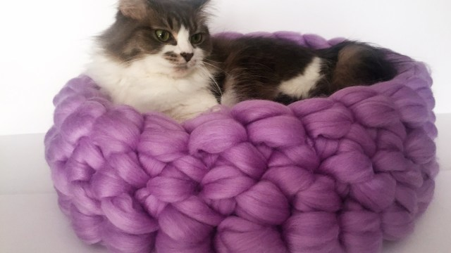 Crochet Cat Bed Pattern Free Hand Crochet Merino Cat Bed In Less Than 30 Minutes 10 Off Youtube