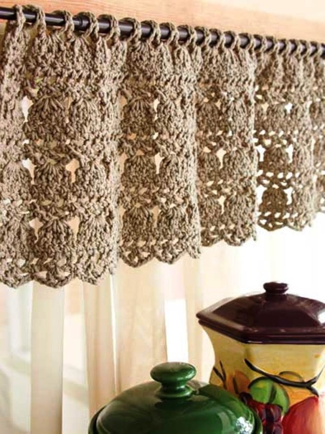 Crochet Curtain Patterns Crochet Kitchen Curtain Crochet Curtains Valances Pinterest