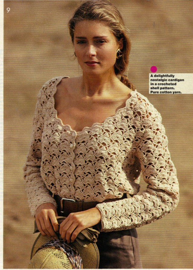 Crochet Long Cardigan Pattern Pdf Vintage Crochet Pattern Ladies Long Sleeve Shell Cardigan Top