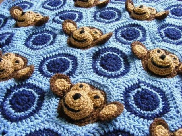 Crochet Monkey Blanket Pattern Ba Boy Crochet Monkey Blanket Pattern Craftsy Crochet Afghans