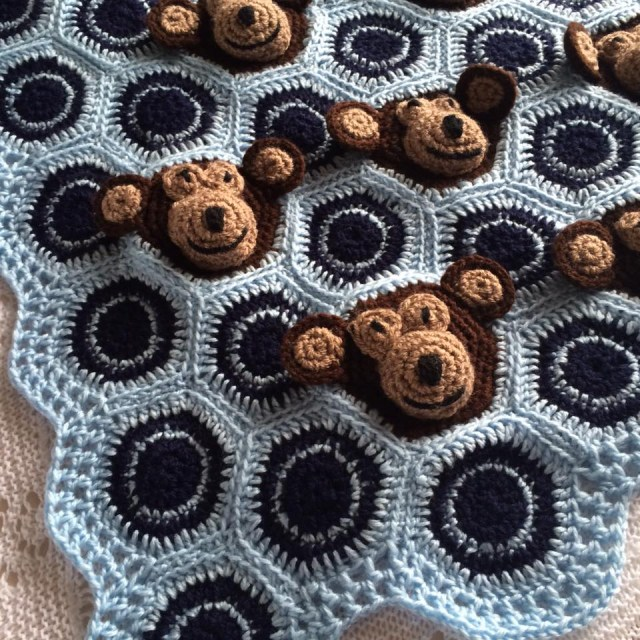 Crochet Monkey Blanket Pattern Cheeky Monkeys Crochet Blanket Patternpiper