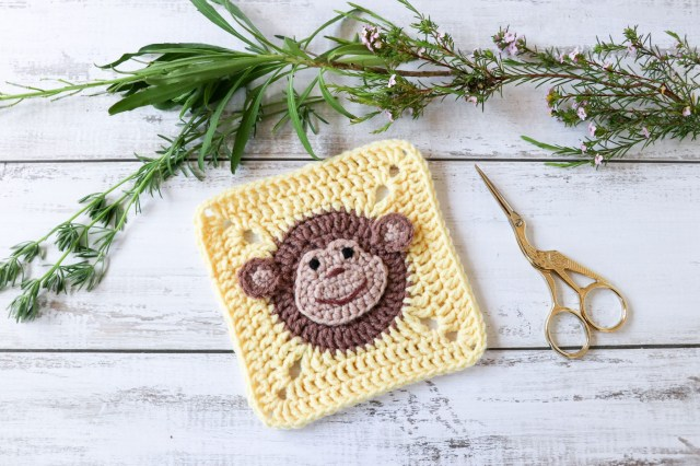 Crochet Monkey Blanket Pattern Crochet Monkey Square Pattern Animal Square Thores Cottage