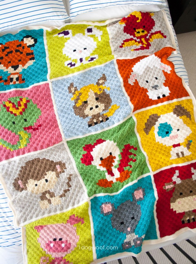 Crochet Monkey Blanket Pattern Zoodiacs C2c Crochet Afghan One Dog Woof
