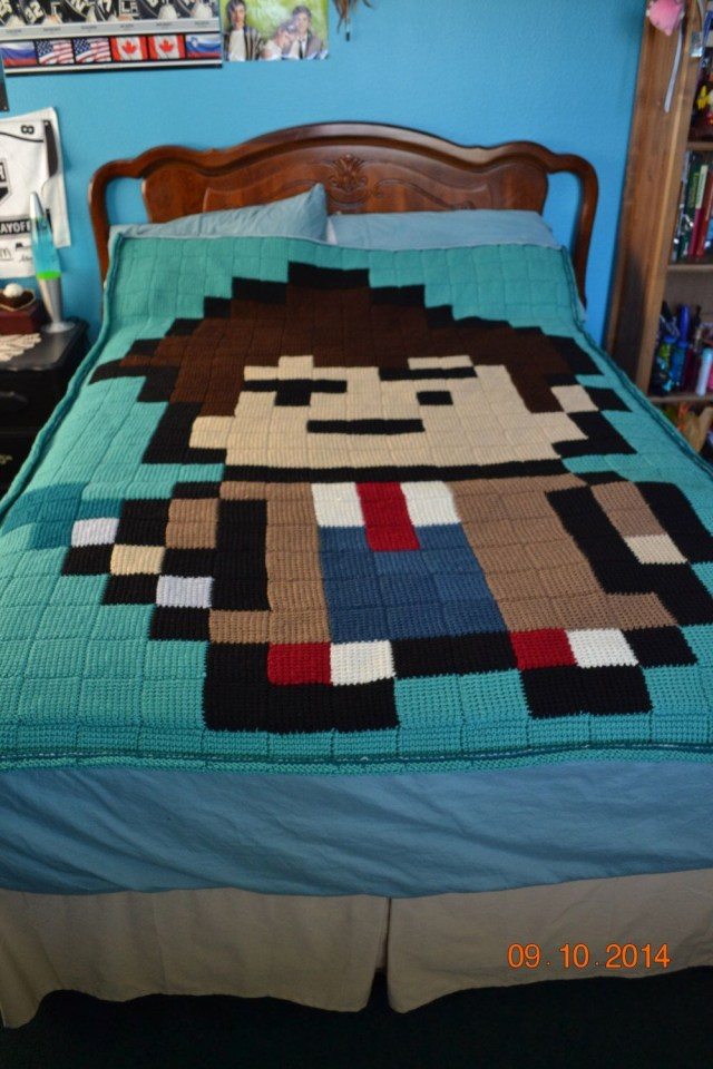 Doctor Who Crochet Blanket Pattern Doctor Who 10th Doctor 8 Bit Entrelac Crochet Blanket Crochet