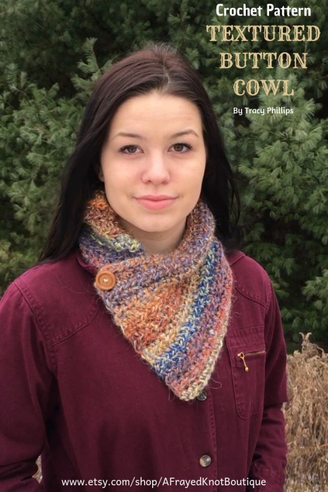 Easy Cowl Neck Scarf Crochet Pattern Textured Button Cowl Crochet Pattern Button Neck Warmer Easy Cowl