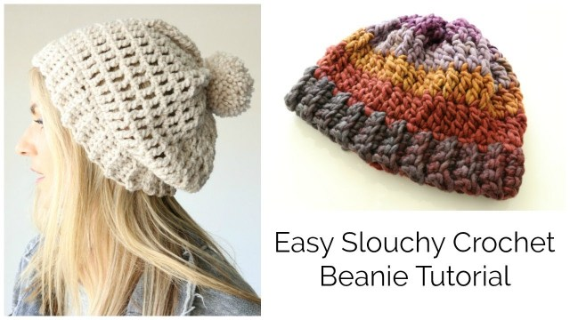 Easy Crochet Slouchy Hat Pattern Easy Slouchy Crochet Beanie Tutorial Treble Stitch Youtube
