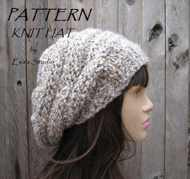 Easy Crochet Slouchy Hat Pattern Pattern Knit Hat Slouchy Hat Knit Pattern Pdfeasy Great For