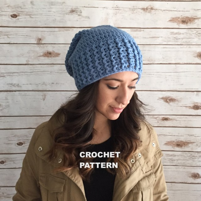 Easy Crochet Slouchy Hat Pattern Wide Brim Crochet Slouchy Hat Pdf Pattern Super Easy Crochet Etsy