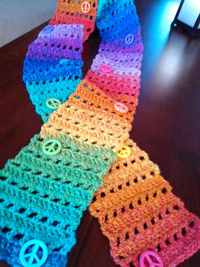 Easy Scarf Crochet Pattern Smoothfox Crochet And Knit Smoothfox Easy Peace Sign Skinny Scarf